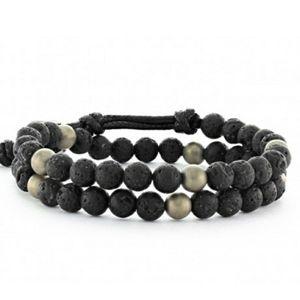 Handmade Lava Hematite 2 Wrap Bracelet Choker NEW